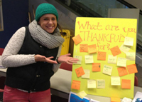 Baruch student tabling for Ask Big Questions.