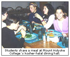 Students share a meal at Mount Holyoke College's kosher-halal dining hall.