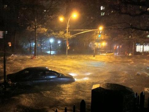 Hurricane Sandy-related flooding in New York City.