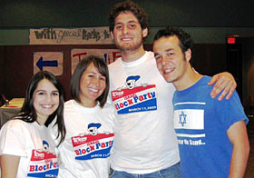 Texas Hillel students Alyssa Moskowitz, Alit Krohn, Paul Kleinman and Ben Freed enjoy the Israel Block Party festivities.