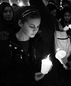 NYU vigil for victims of Mumbai terror attacks.