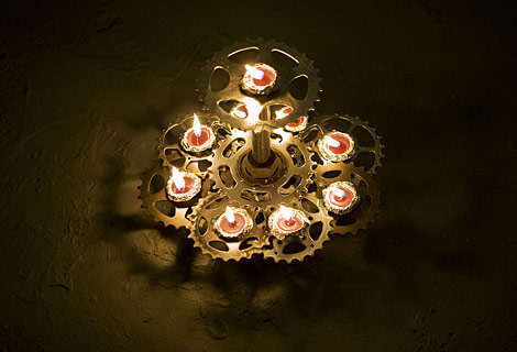 The winning piece, designed by Jan Tichy from the School of the Art Institute. Built using recycled bike sprockets, the menorah can move around in a circular rotation illustrating time as an important element of Chanukah.