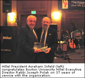 Hillel President Avraham Infeld (left) congratulates Boston University Hillel Executive Director Rabbi Joseph Polak on 37 years of service with the organization.