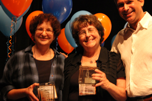 Patti Ray, Marla Baker, Wayne with Milestone Awards.