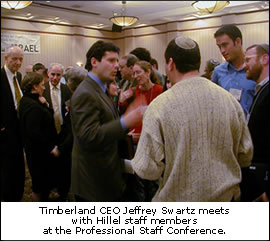 Timberland CEO Jeffrey Swartz meets with Hillel staff members at the Professional Staff Conference.