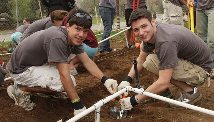Students help create a community garden.
