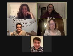 Some members of Manhattanville Hillel meeting on Zoom