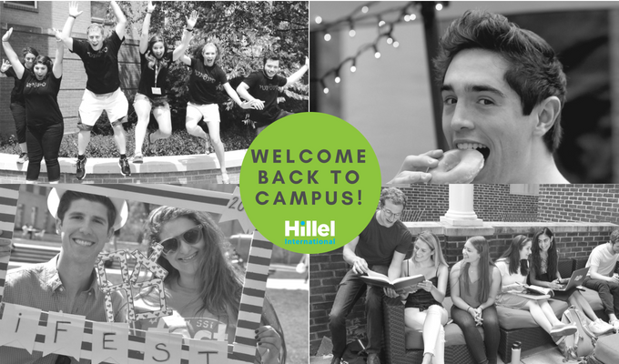 """Welcome back to campus!"" on green circle in the center of four black and white images of students"