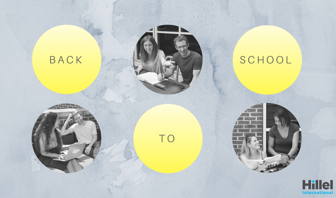 """Back to school"" in yellow circles with three black and white images of students"