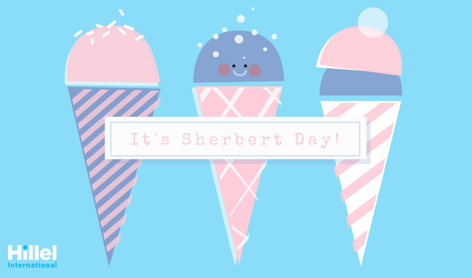 """It's Sherbert Day!"" with pink and blue sherbert in cones."