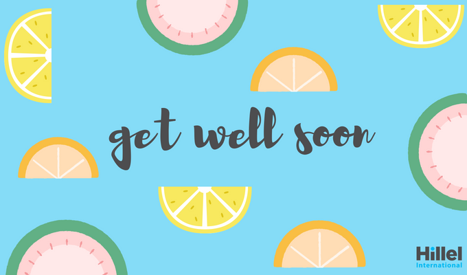 """Get well soon"" on blue background with colorful citrus fruits"