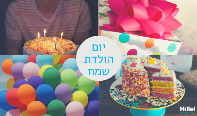 "4 colorful birthday themed images. ""Happy birthday to you"" in center."
