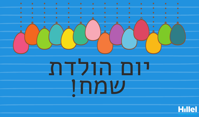 Yom Huledet Sameach (Happy Birthday in Hebrew) with colorful baloons.