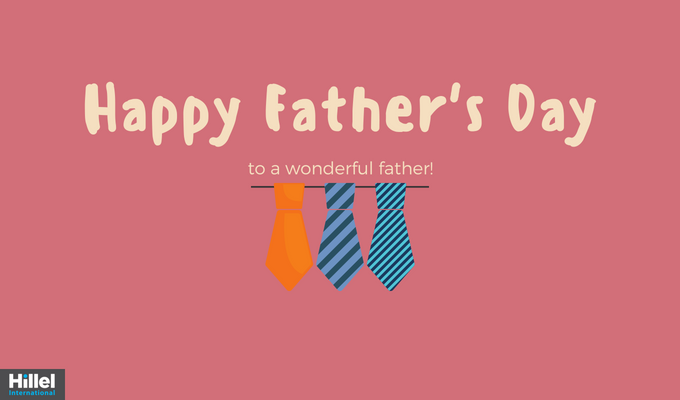 """Happy father's day to a wonderful father"" with red background and three colorful ties"