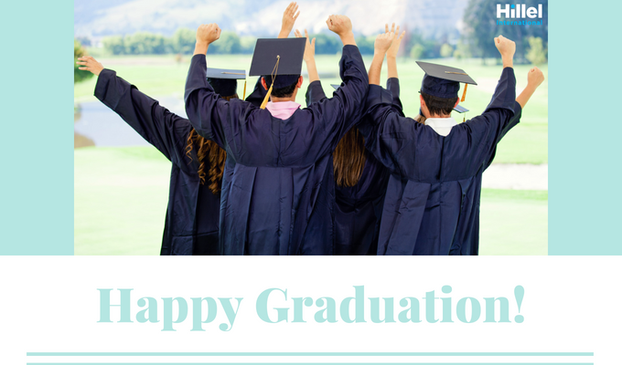 """Happy Graduation!"" with photo of people in caps and gowns"
