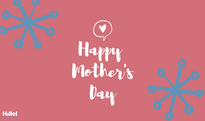 Happy Mother's Day with pink and blue decorations and white heart