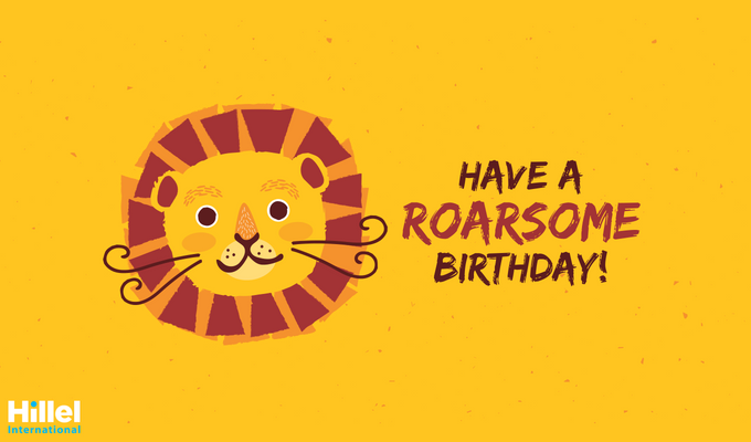 """Have a Roarsome Birthday!"" with a cartoon lion."