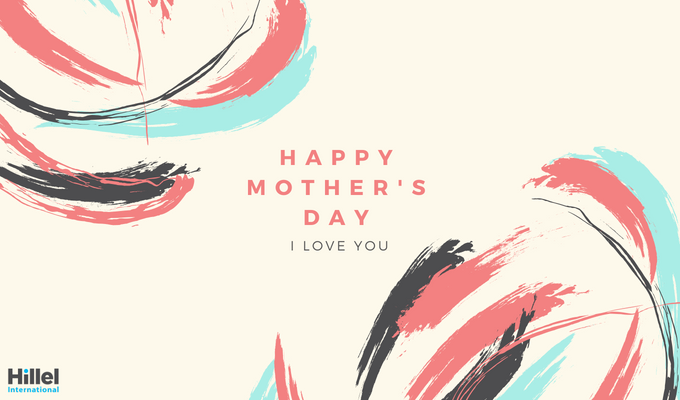 """Happy Mother's Day. I love you."" Decorated with pink, grey, and blue paint strokes."