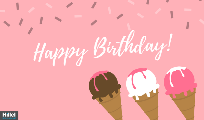 Happy birthday with pink and brown ice cream cones and sprinkles