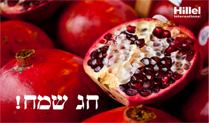 """Chag sameach"" in Hebrew with image of pomegranate"