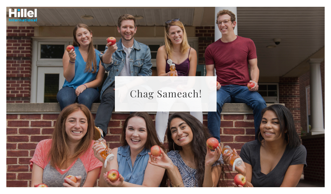 """Chag sameach"" with image of students holding apples and honey"