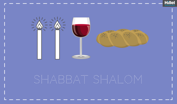 """Shabbat Shalom"" with image of challah, candles, and a kiddush cup"