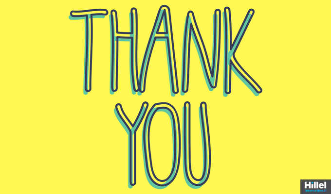 """Thank you"" with bright yellow background"