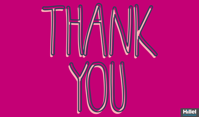 """Thank You"" with bright pink background"