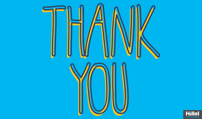 """Thank You"" with bright blue background"