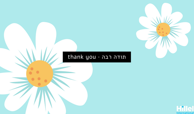 """Todah Rabah. Thank You"" with light blue background and daisies"