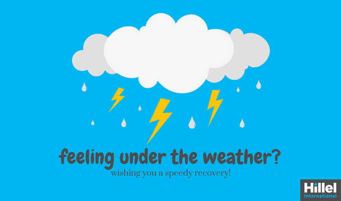 """Feeling under the weather? Wishing you a speedy recovery!"" with image of storm cloud"