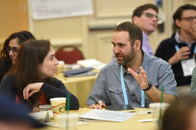 Hillel staff talking at New Professionals Institute