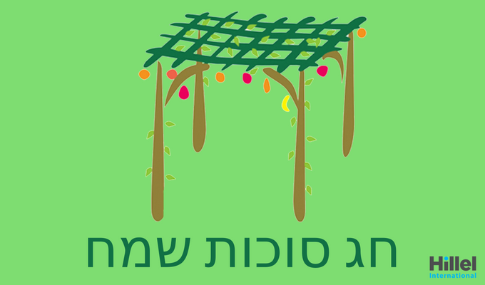 Hag Sukkot Sameach written in Hebrew on a green background with an image of a Sukkah.