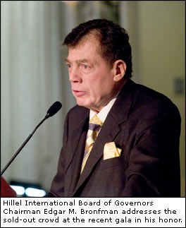 Hillel International Board of Governors Chairman Edgar M. Bronfman addresses the sold-out crowd at the recent gala in his honor.