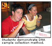Students demonstrate DNA sample collection method.