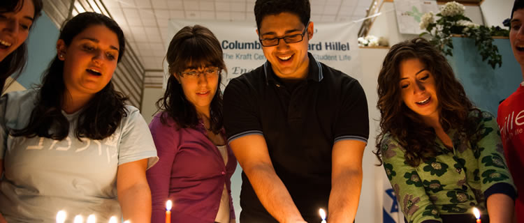Chanukah candle lighting at Columbia University.
